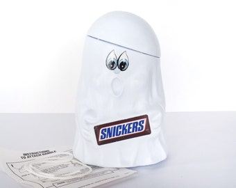 Mars Snickers ghost plastic blow mold trick or treat pail, candy container, Halloween decoration, white, vintage 1990s, candy bar, chocolate