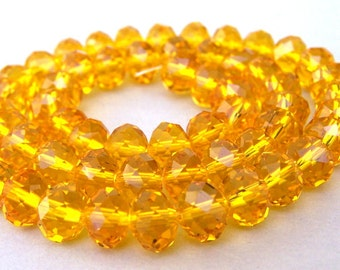 30 golden crystal beads, 8mm yellow gold rondelles, Chinese crystal