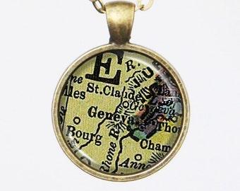Geneva Map Necklace - Switzerland, Swiss, Customizable Map Necklace -Vintage Map Series