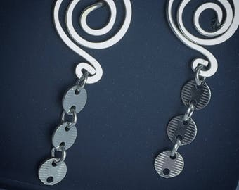 Coin Chain Earrings Spiral Yoga Sequin Style Post Lightweight