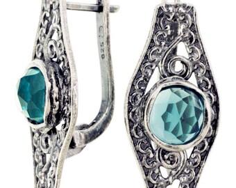 Sterling silver earrings, light Cyan CZ earrings, birthstone earrings, handmade