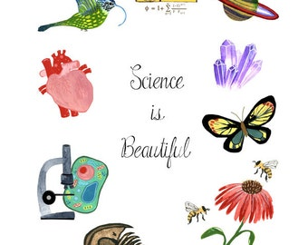 Science Is Beautiful Watercolor Art Print, Science March, Wall Art, Geekery, Gifts for Teachers, Science March Art by Little Truths Studio