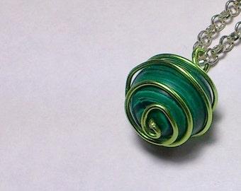Malachite stone pendant and Aluminum spiral