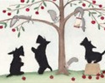 Scotties (scottish terriers) knock over apple basket in pursuit of squirrels / Lynch signed folk art print