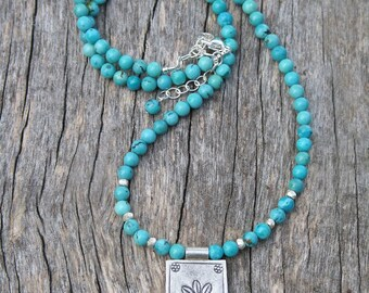 Flower Stamped Turquoise Necklace