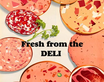 Food Pizza Toppings Salami Fresh From The Deli Bar Restaurant Vintage Poster Repro FREE SHIPPING in USA