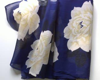 Vintage Japanese Kimono Fabric Cream Peony Royal Blue