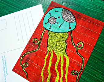 Postcard Bronze Jellyfish Animal Art