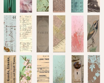 "Collage Sheet - Digital Download - Digital Ephemera - Jewelry Download Images - Instant Download - 1""x 3"" images"