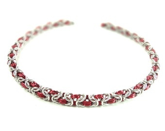 Red And Silver Byzantine Weave Chainmaille Necklace Handcrafted