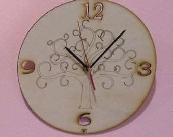 Wooden wall Clock custom tree of life