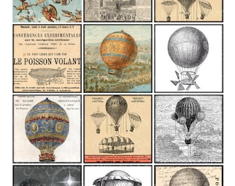 hot air balloons - Vintage Printable Tags Digital Collage Sheet 2.5 inch square large images Download and Print card label sticker