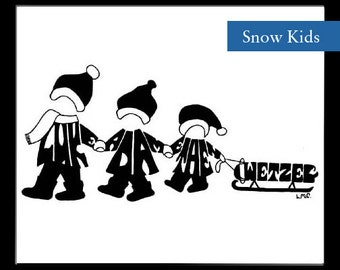 Personalized Silhouette Winter Snow Kids