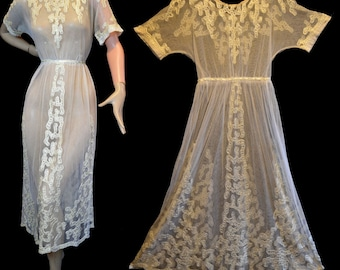 The Tambour Dress ~ Antique Ivory Tea Dress XS ~ Silk Embroidered Tulle Net