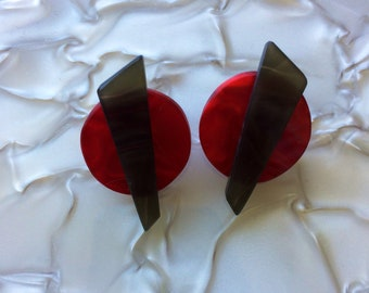 Mod Earrings Red and Black