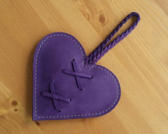 Decorative leather heart, purple leather anniversary gift, wedding present, valentines heart