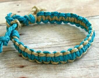 Surfer Macrame Hemp Bracelet Turquoise Blue and Natural, Woven Knot Friendship Bracelets