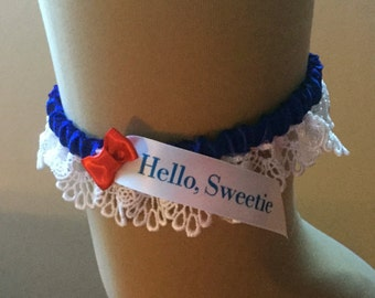 Dr Who, Hello Sweetie, wedding garter // tardis blue garter with red bow tie // River Song // eleventh doctor