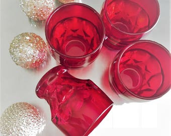 Set of Four Fenton Georgian Ruby Red Tumblers - Vintage Holiday Glasses