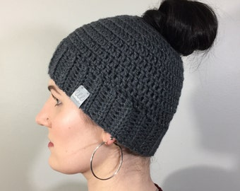 Crochet Messy Bun Hat   Messy Bun Beanie   Ponytail Hat   Women's Hat   Women's Beanie   Toque   Ear Warmer   Headband   Women's Fashion