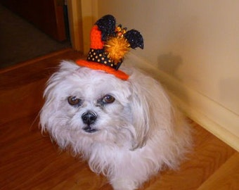 NEW - Halloween Mini Top Hat for dog, cat -Made to fit-need measurement- Humorous - up 20 lb pets