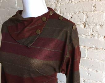 1970s Cowl Dress Brown/Plum/Burgundy