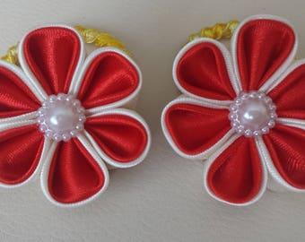 Satin Dual Colour Flower Hairbands/Ties pair