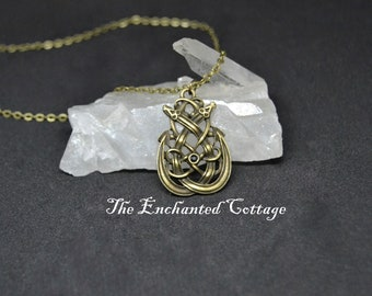Bronze Twin Snake Necklace~ Pagan Necklace~ Wiccan Jewelry~ Magickal Trinket~ Witchy Bauble~ Celtic Jewelry
