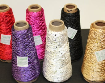 Hilo de Lentejuela Cono de 100gr Varios colores. Sequin Crochet Thread Various Colors 100grs Cone