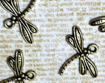 Dragonfly Charm, insect charms, dragonfly jewelry diy, dragonfly charm set (5 pieces)