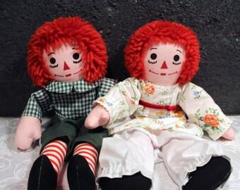 Vintage Raggedy Ann & Andy Doll Set