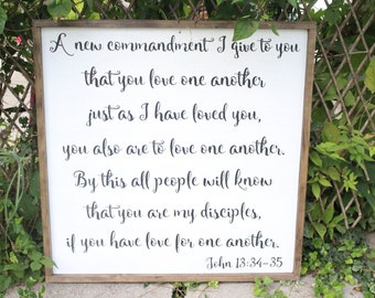 A New Commandment I Give to You, John 13:34-35, Scripture Wall Art, Framed Sign, Living Room, Inspirational, Bible Verse, Farmhouse Decor