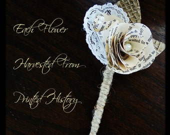 Book Page Boutonniere, Rustic Boutonniere, Paper Boutineer, Paper Rose, Eco Wedding, MSN LIVING FEATURED (Item: TPG71)