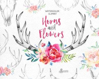 Horns & Flowers. 14 Watercolor clipart, floral, hand drawing antlers, invite, country, diy clip art, logo, skull, deer, tatoo, wallart, boho
