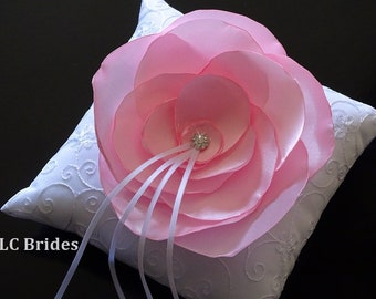 Ring Bearer Pillow, Light Pink Flower, White, Light Pink, Embroider, Custom, Wedding, Ring Pillow