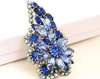 High End Sapphire Blue Glass Flower Brooch