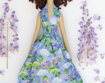 Tilda doll cloth doll lilac purple blue stuffed doll fabric doll brunette rag doll cute doll baby shower, nursery decor gift for girls