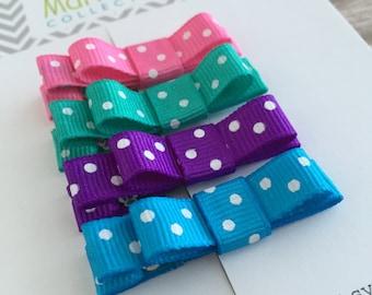Hair Clips - Polka Dot Hair Clip - Hair Clip for Baby - Baby Hair Clip - Set of 4 baby barrettes -  Baby Hair Clip - Polka Dot Hair Bows