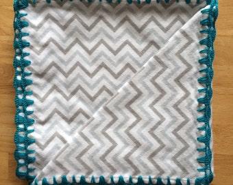 Crochet/Flannel Baby/Receiving Blanket - Cheveron, turquoise