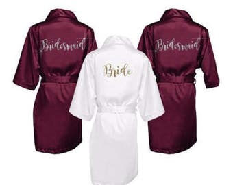 Satin Bridesmaid Robes with Personalization -Bridal Party Robes - Bridesmaid Wedding Gift - Robe - Personalized Satin Robes