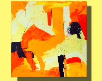 Contemporary art abstract painting modern orange yellow