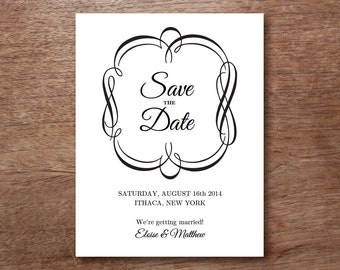 Printable Save the Date Card - Save the Date Template - Instant Download - Save the Date PDF - Black Vintage Border Save the Date - PDF
