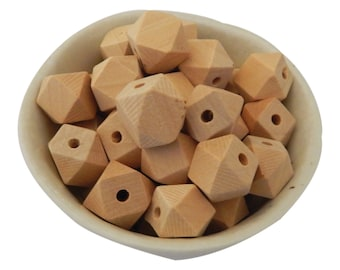 16mm Wooden Bead | Hexagon | Geometric | Natural Wood | Eco-Friendly | Unfinished | Non-Toxic