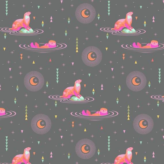 """FQ OTTER CHILL Star Light Spirit Animal PWTP102.Starl Tula Pink  Fat Quarter 18""""x22"""""""