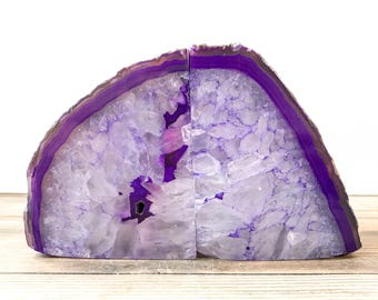 Agate Bookends - Purple Stone Book Ends Geode Crystal Decor