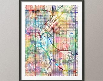 Denver Map, Denver Colorado City Street Map, Art Print (2058)