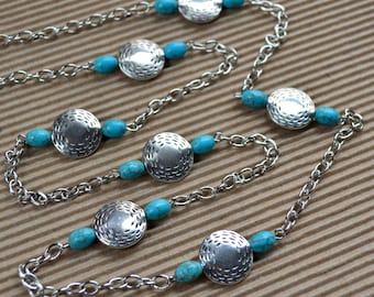 Turquoise Silver Long Beaded Chain Necklace Boho Chic Handcrafted Bohemian Fashion Jewelry Natural Stones Paisley Beading FREE Shipping