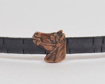 25% Off Horse Head Sliders for 10mm Flat Leather - Antique Copper - 10F-FL198AC - Choose Your Quantity