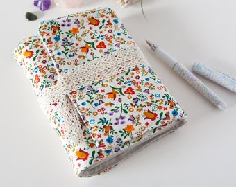 Blank Notebook – Cute Notebook with Floral Fabric Cover – Gifts for Her Under 30