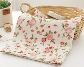 Cotton Linen Fabric Vintage Rose Natural By The Yard